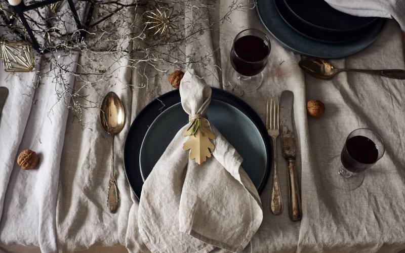Tischdeko Weihnachten festlich Leinen Tischwäsche