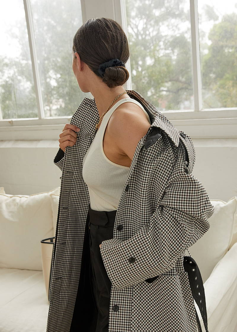 Sara Crampton in Oroton Micro Check Trench with Hanna Large Tote