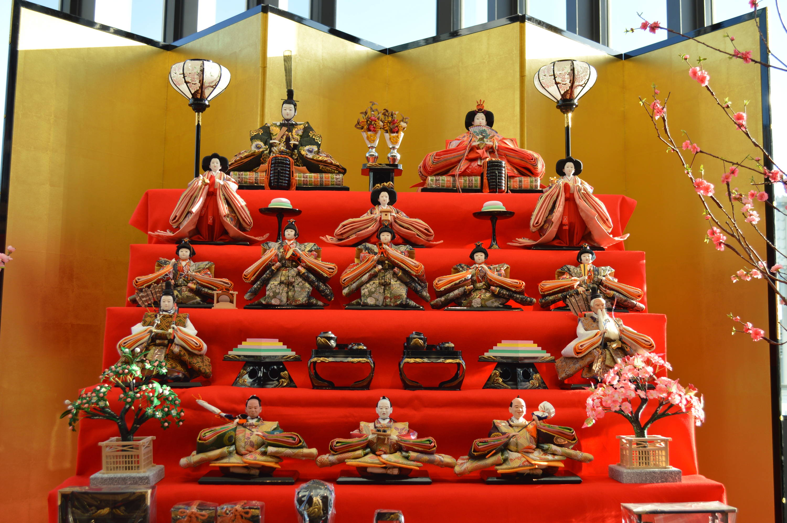 Hina dolls on display for hinamatsuri japan