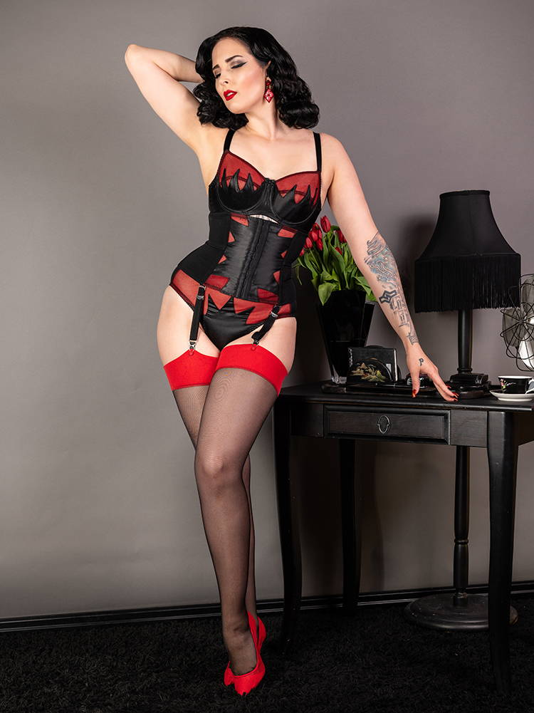 Ziegfeld art deco inspired red and black vintage lingerie