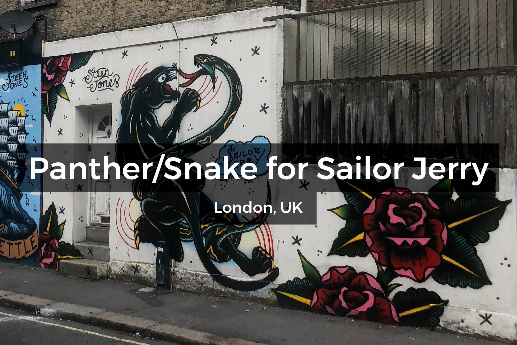 Panther and Snake mural in London, UK by Steen Jones for Sailor Jerry