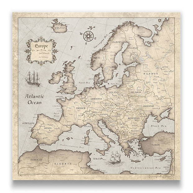 Europe Map Pin Board Rustic Vintage