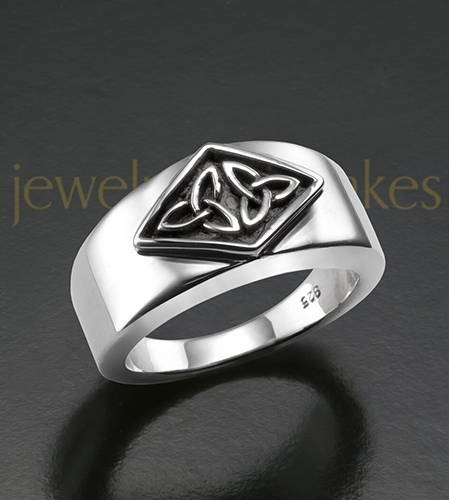Mens Silver Jester Cremation Ring For Ashes