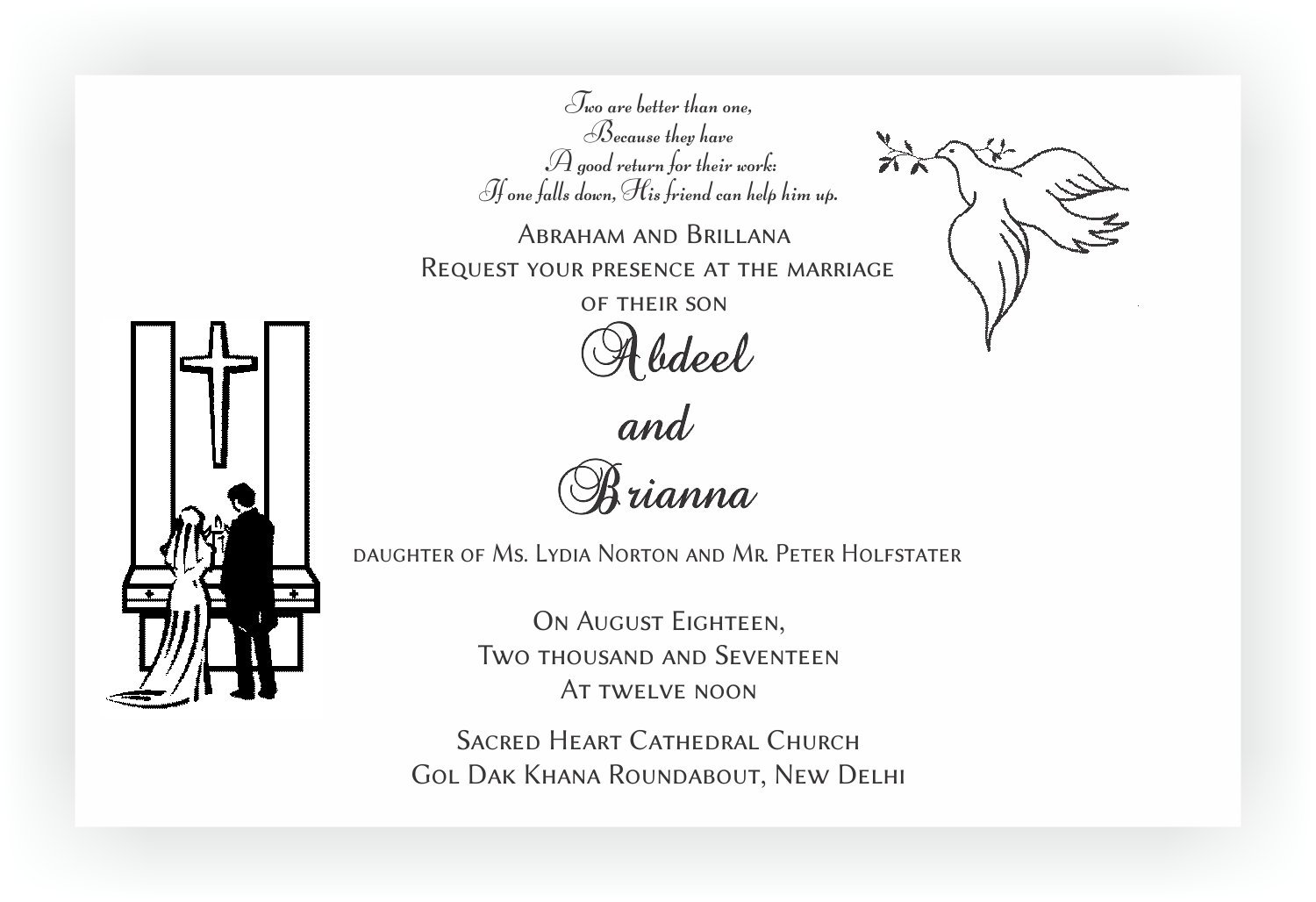 Wedding Invitation Wording English: Christian Wedding Invitation Wordings