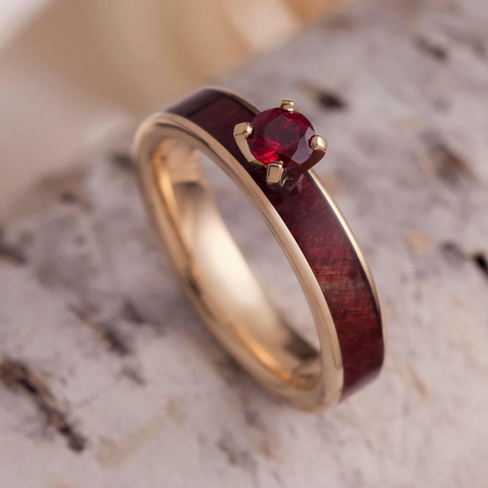 Ruby Engagement Ring With Redwood