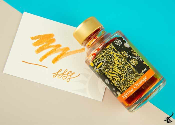 Ink bottle Diamine-Shimmering-Inferno-Orange