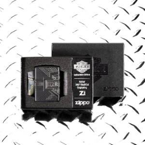 2020 Harley-Davidson® Collectible lighter in its packaging, laying on a metal surface
