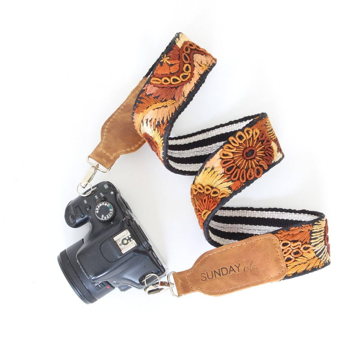 embroidery and leather camera strap