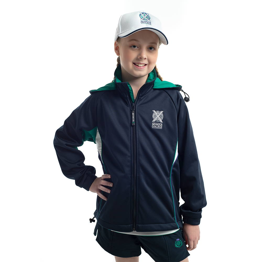 Contemporary female fit softshell jacket for Seymour College.