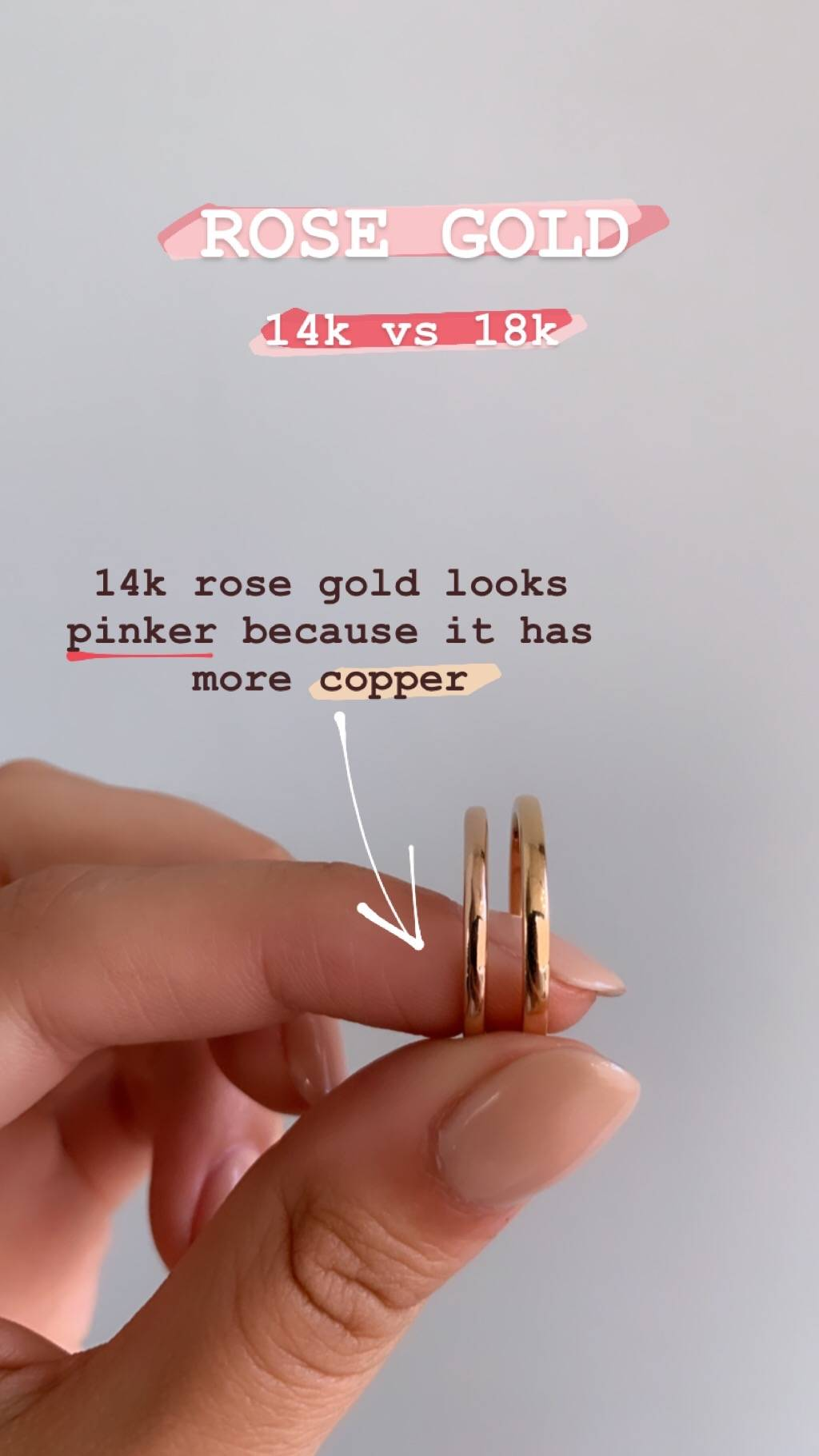comparison 14k rose gold vs. 18k rose gold