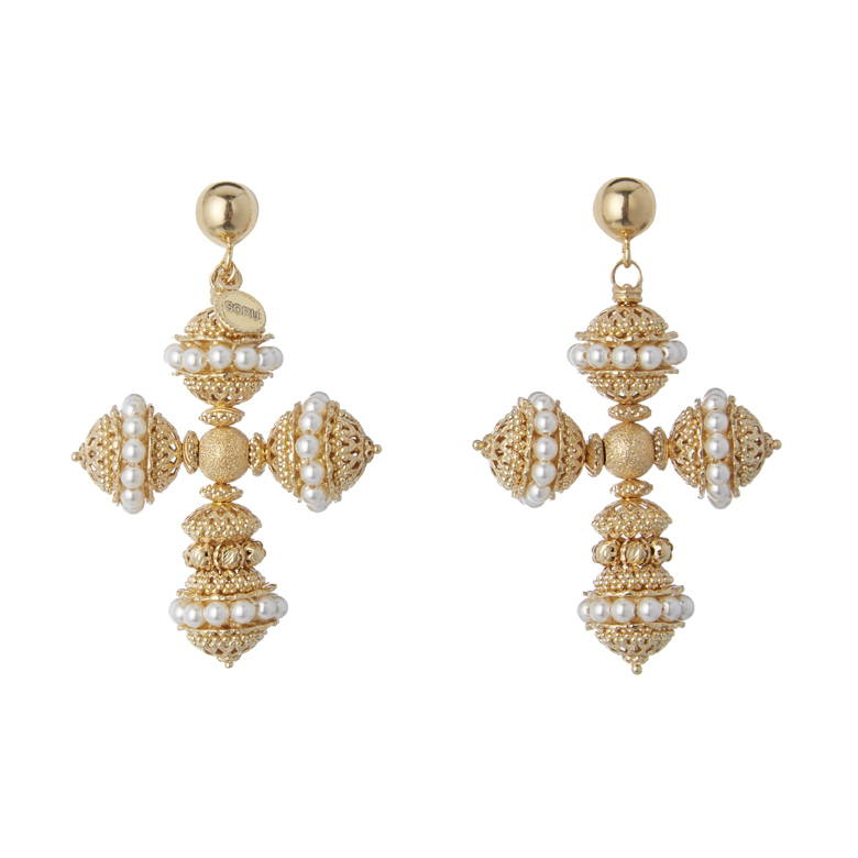 soru jewellery santina earrings, soru god cross earrings, gold pearl cross earrings
