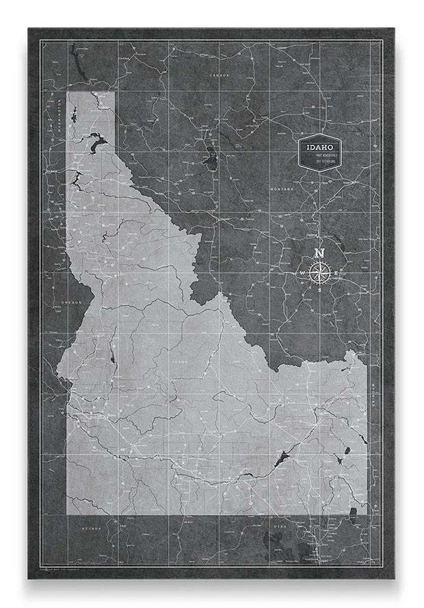 Idaho Push pin travel map modern slate
