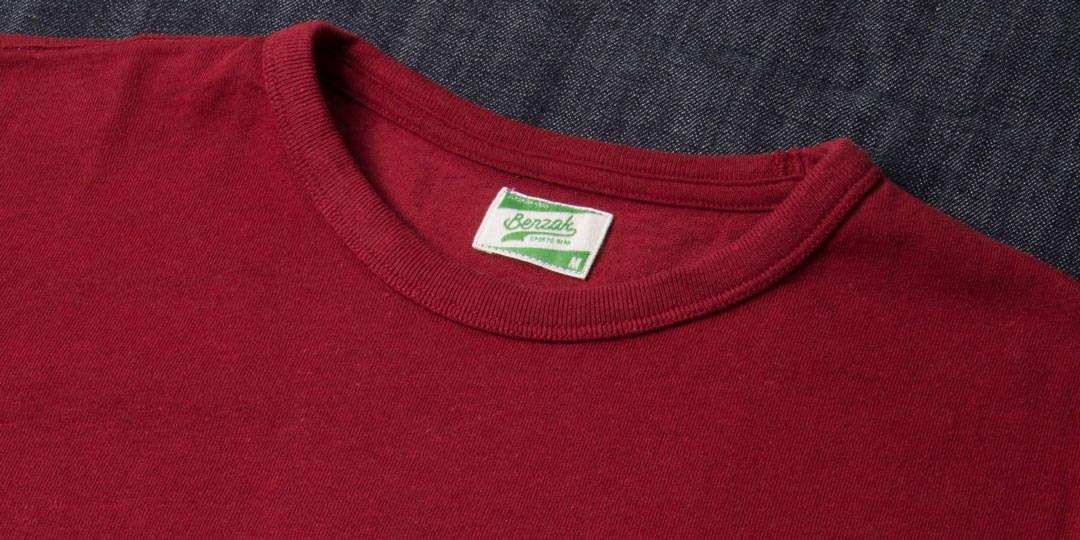 benzak BT-01 POCKET TEE burgundy heavy jersey t shirt for men
