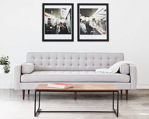 Gus* Spencer Sofa with Wood Base