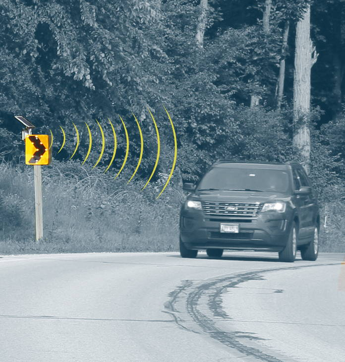Radar detection activates the system to warn drivers of dangerous situation