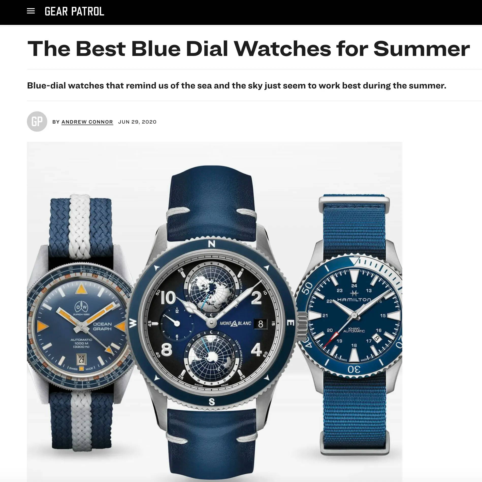 ollech and wajs ocean graph gear patrol The Best Blue Dial Watches for Summer