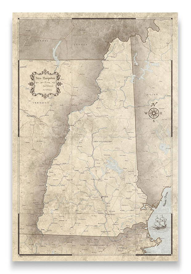New Hampshire Push pin travel map rustic vintage