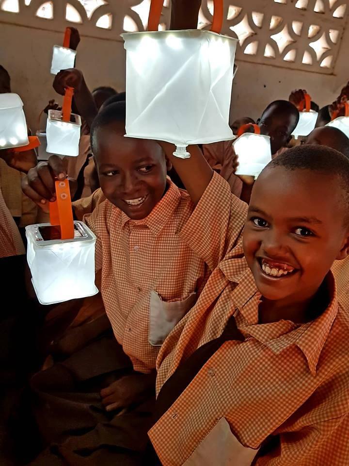 Children with lanterns.