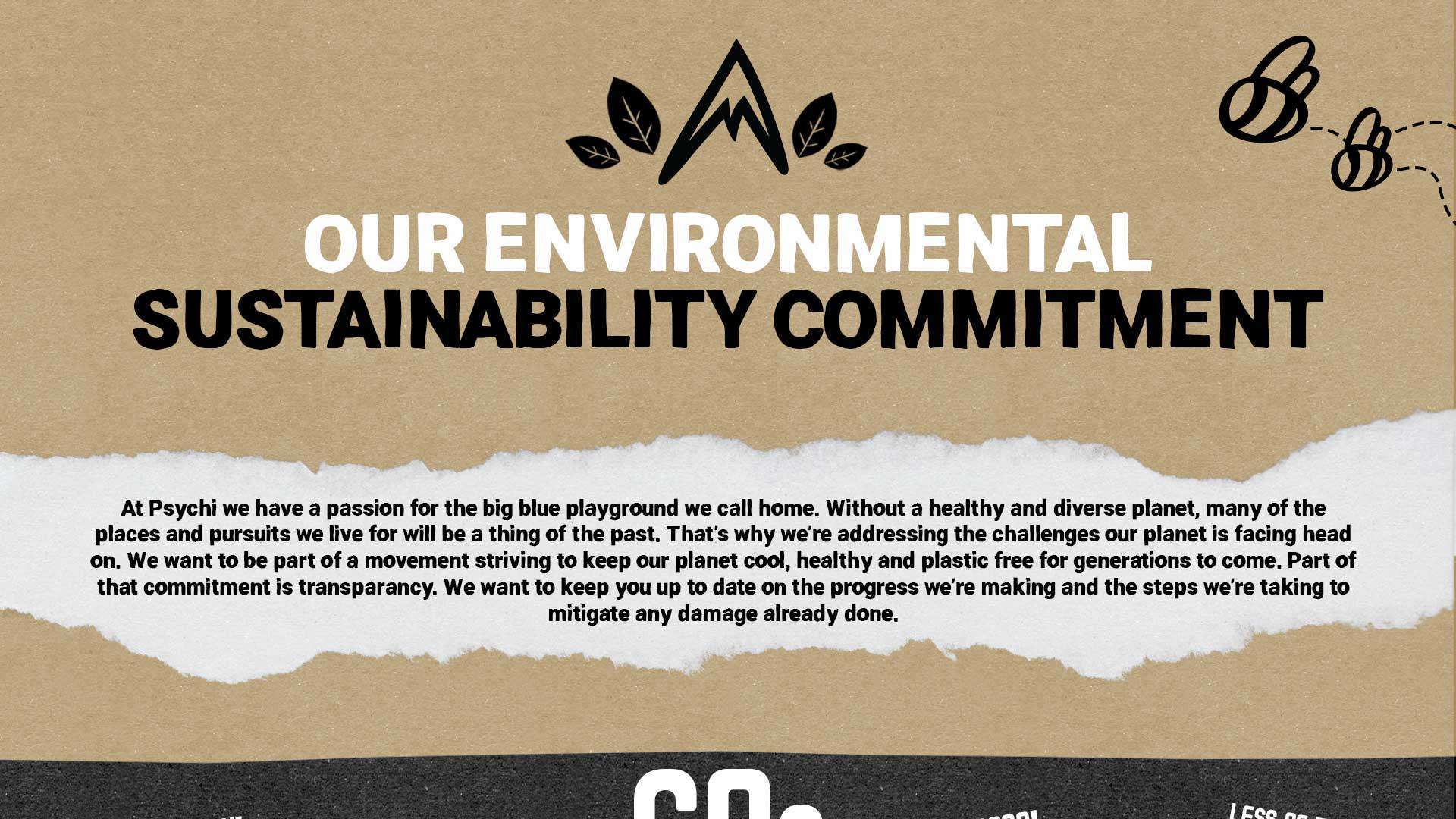 OUR ENVIRONMENTAL SUSTAINABILITY COMMITMENT. At Psychi we have a passion for the big blue playground we call home. Without a healthy and diverse planet, many of the places and pursuits we live for will be a thing of the past. That's why we're addressing the challenges our planet is facing head on. We want to be part of a movement striving to keep our planet cool, healthy and plastic free for generations to come. Part of that commitment is transparancy. We want to keep you up to date on the progress we're making and the steps we're taking to mitigate any damage already done.