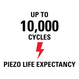 Up to 10,000 cycles - piezo life expectancy