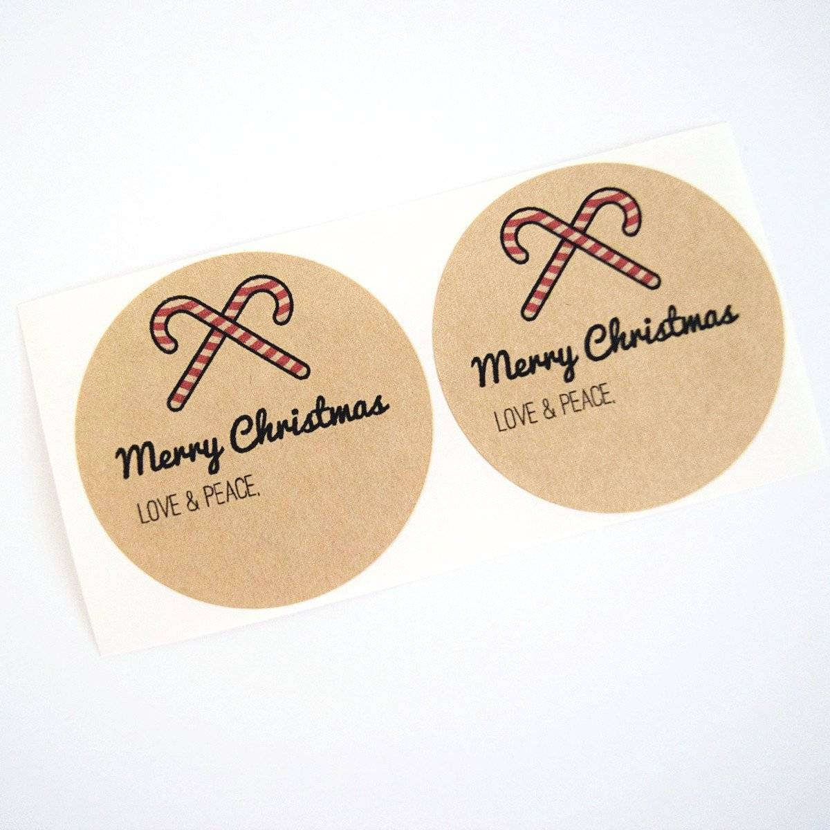 candy cane merry christmas stickers