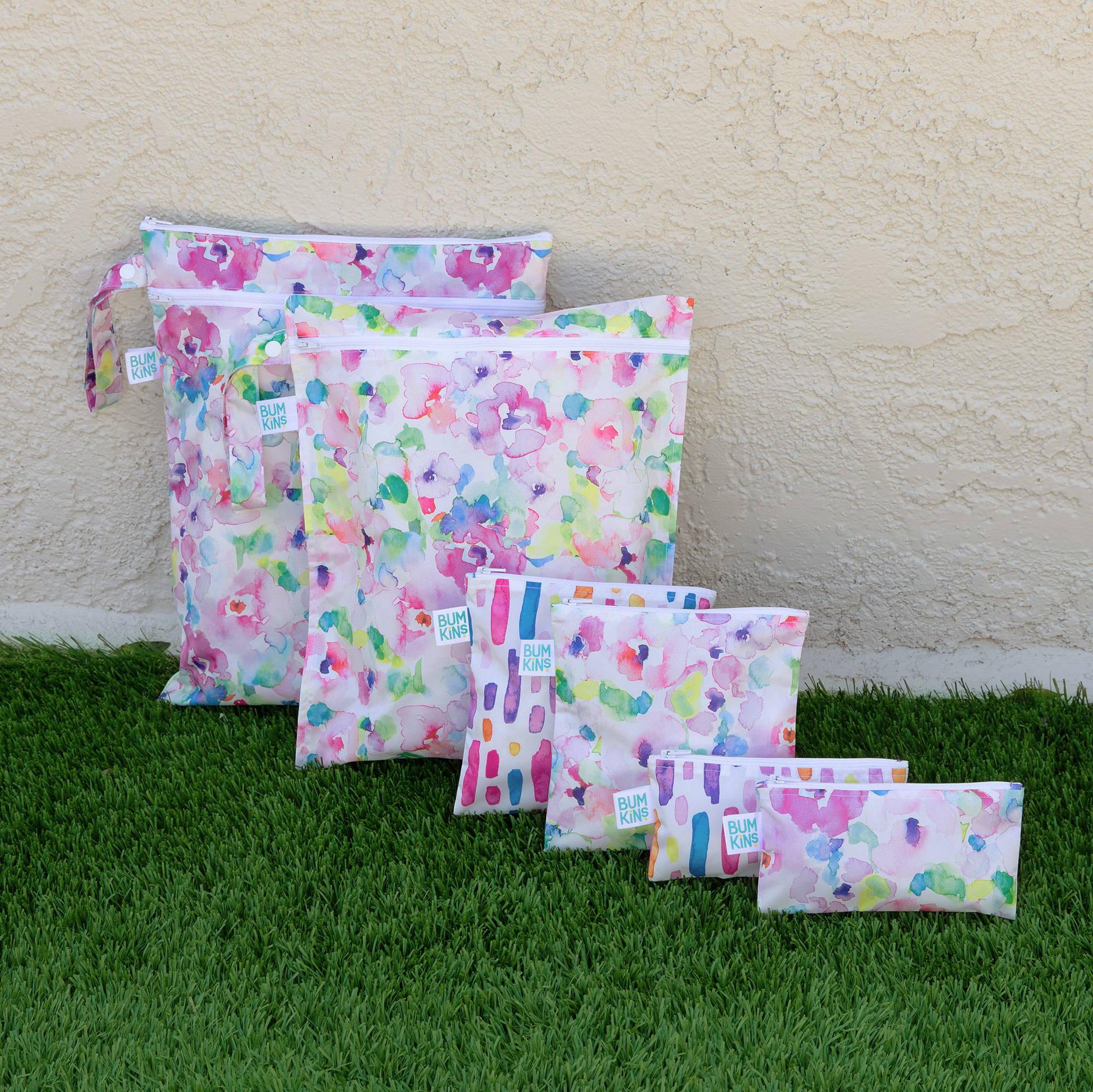 bumkins reusable snack bags, travel bags, wet bags, cloth diaper storage bags