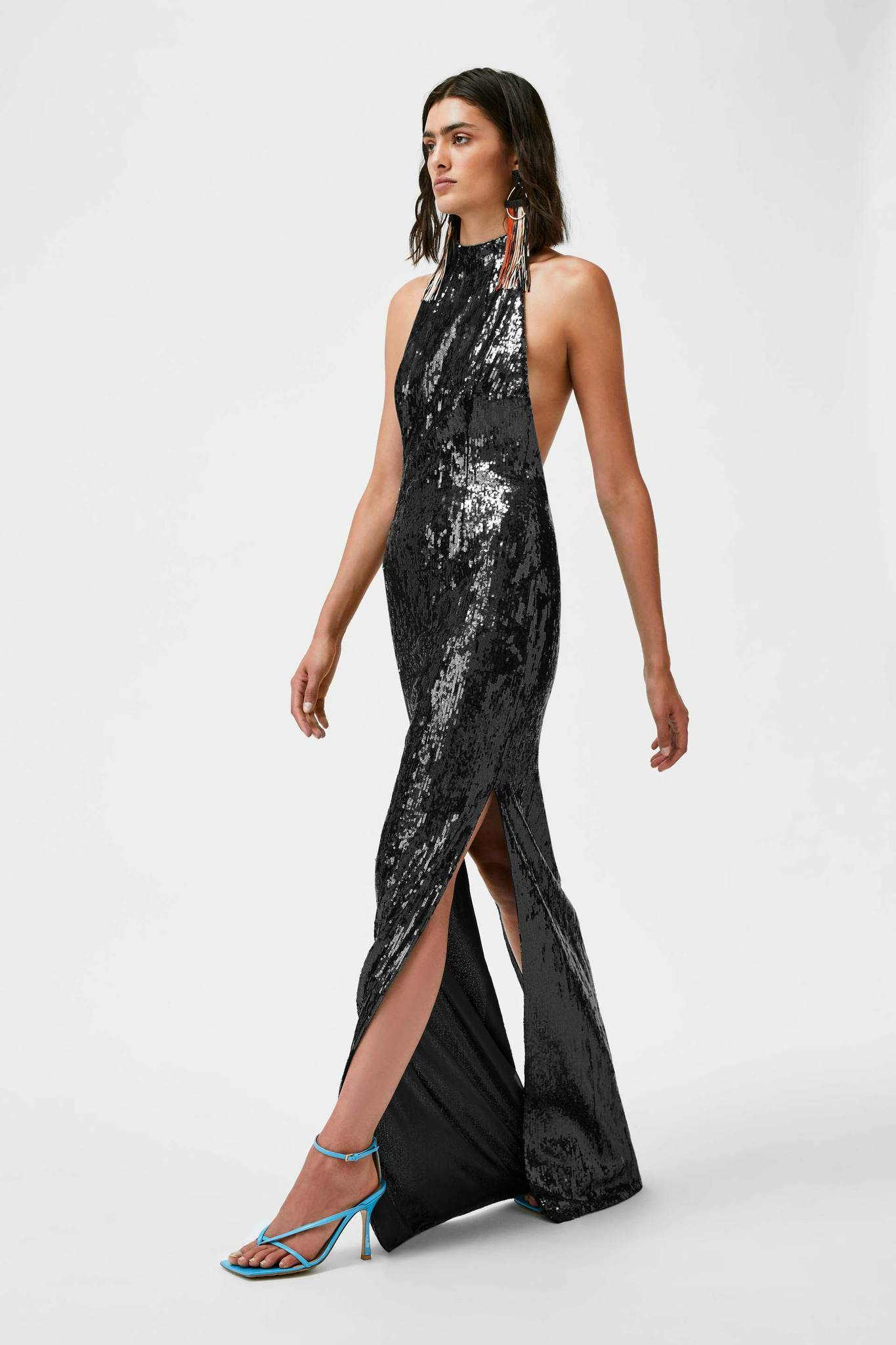 Galvan London High Neck Backless Sequin Black Dress