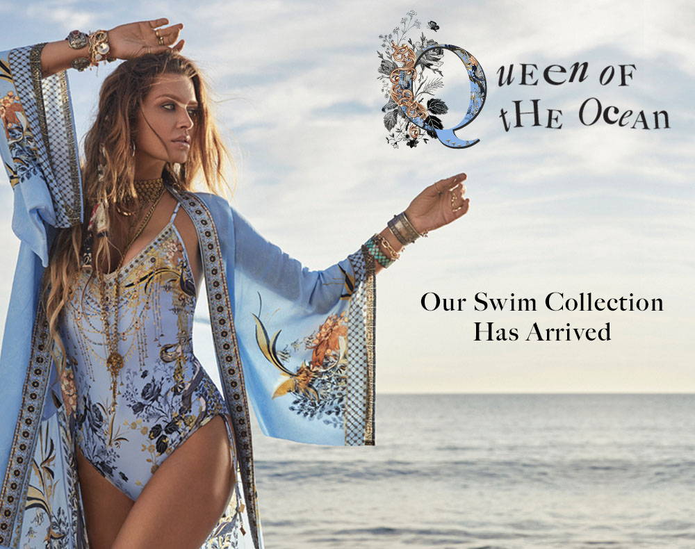 WOMAN IN NAVY PRINTED SILK BLUE KIMONO ROBE AND ONE PIECE SWIM SUIT