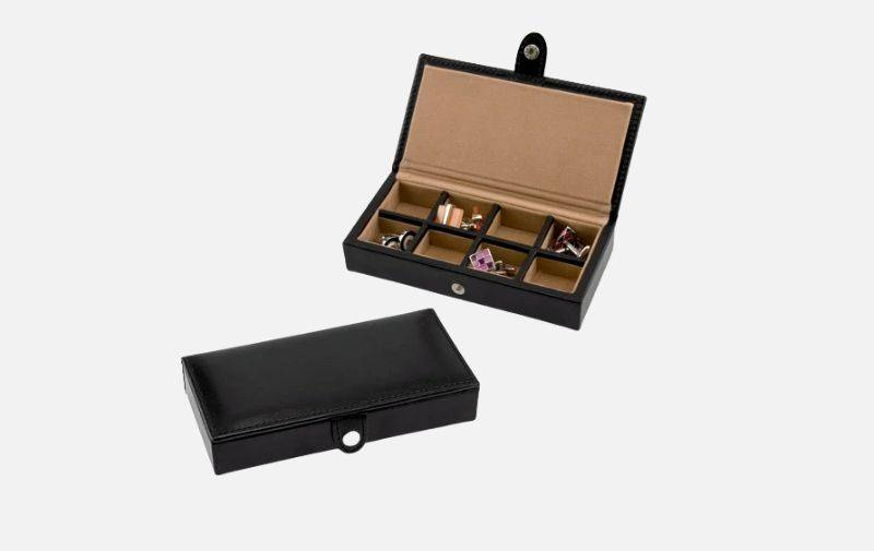 8 Pair Bonded Leather Black/Tan Cufflink Storage Box