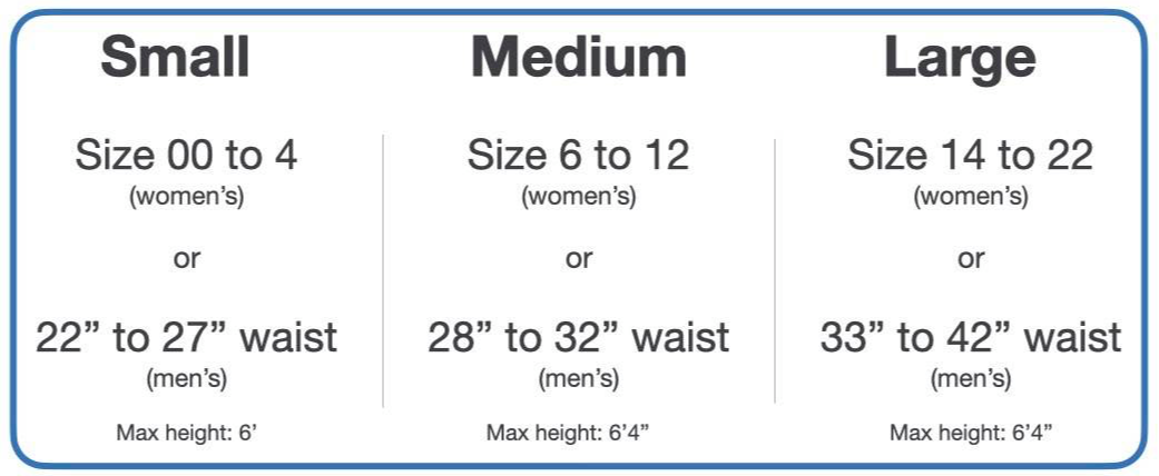 Sizing chart - size 00 to size 4 (women's) and 22 inch to 27 in waist (men's), choose small. Size 6 to 12 (women's) or 28 inch to 32 inch (men's)  choose medium. Size 14 to 22 (women's) or 33 inch to 42 inch (men's) choose large