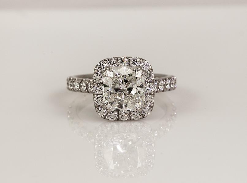 Custom Diamond Engagement Halo Ring