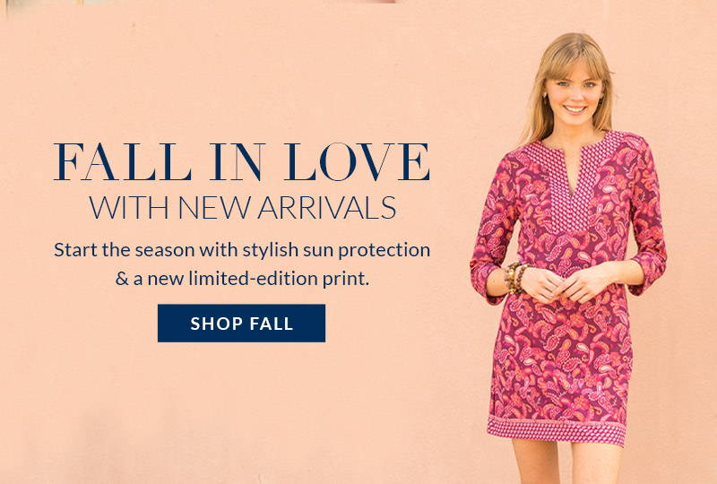 Woman wearing Greenwich Tunic Dress in front of pink wall. Shop new arrivals from our Fall Collection.