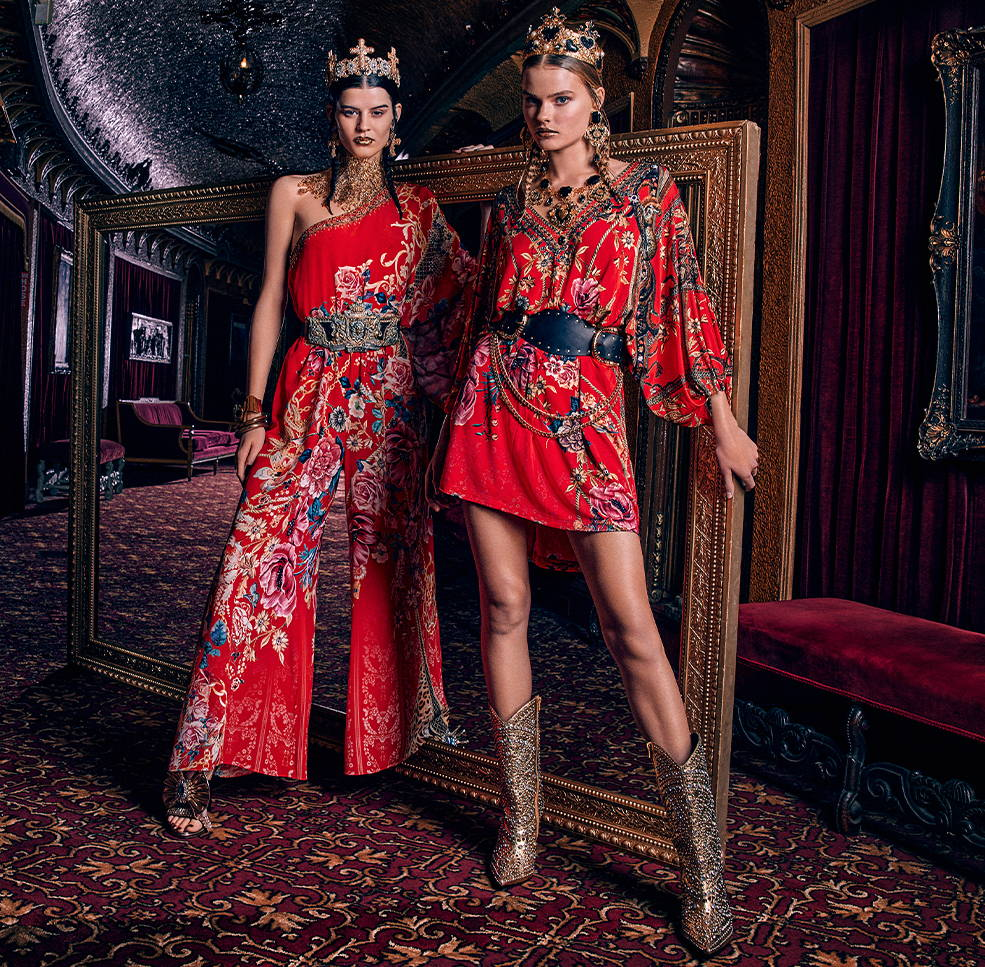 CAMILLA red floral jumpsuit and dress