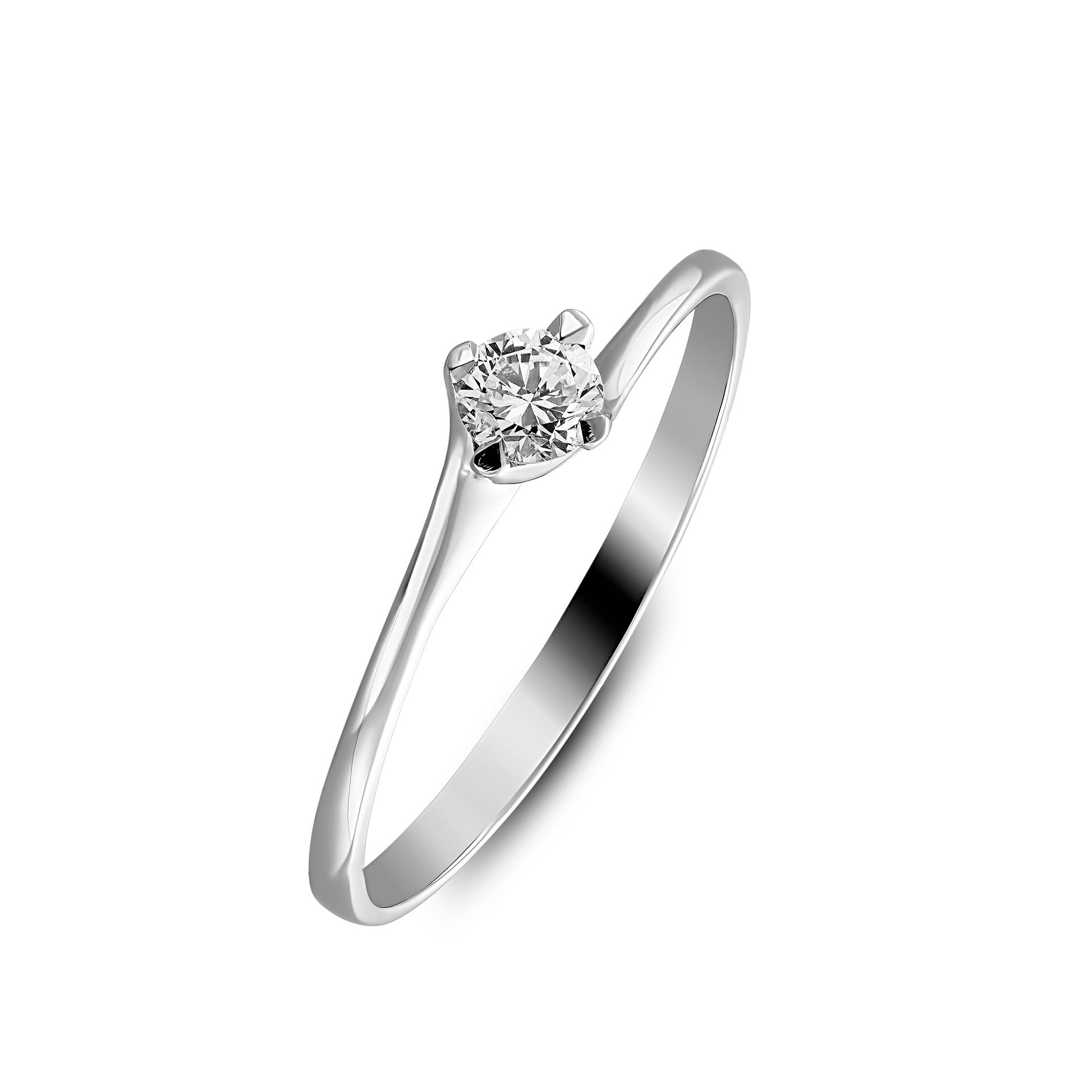 White gold engagement ring with solitair diamond
