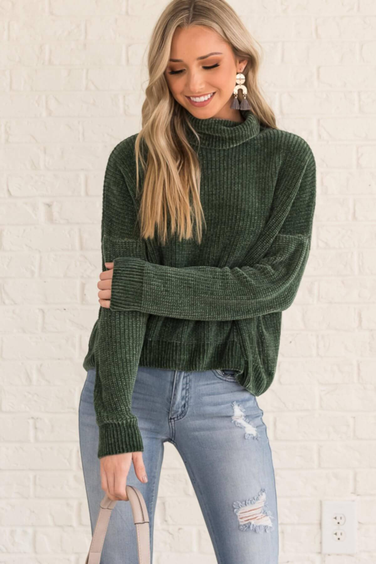Forest Green Chenille Soft Knit Cowlneck Sweaters