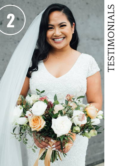 Bride with garden style bouquet by May Flowers Toronto