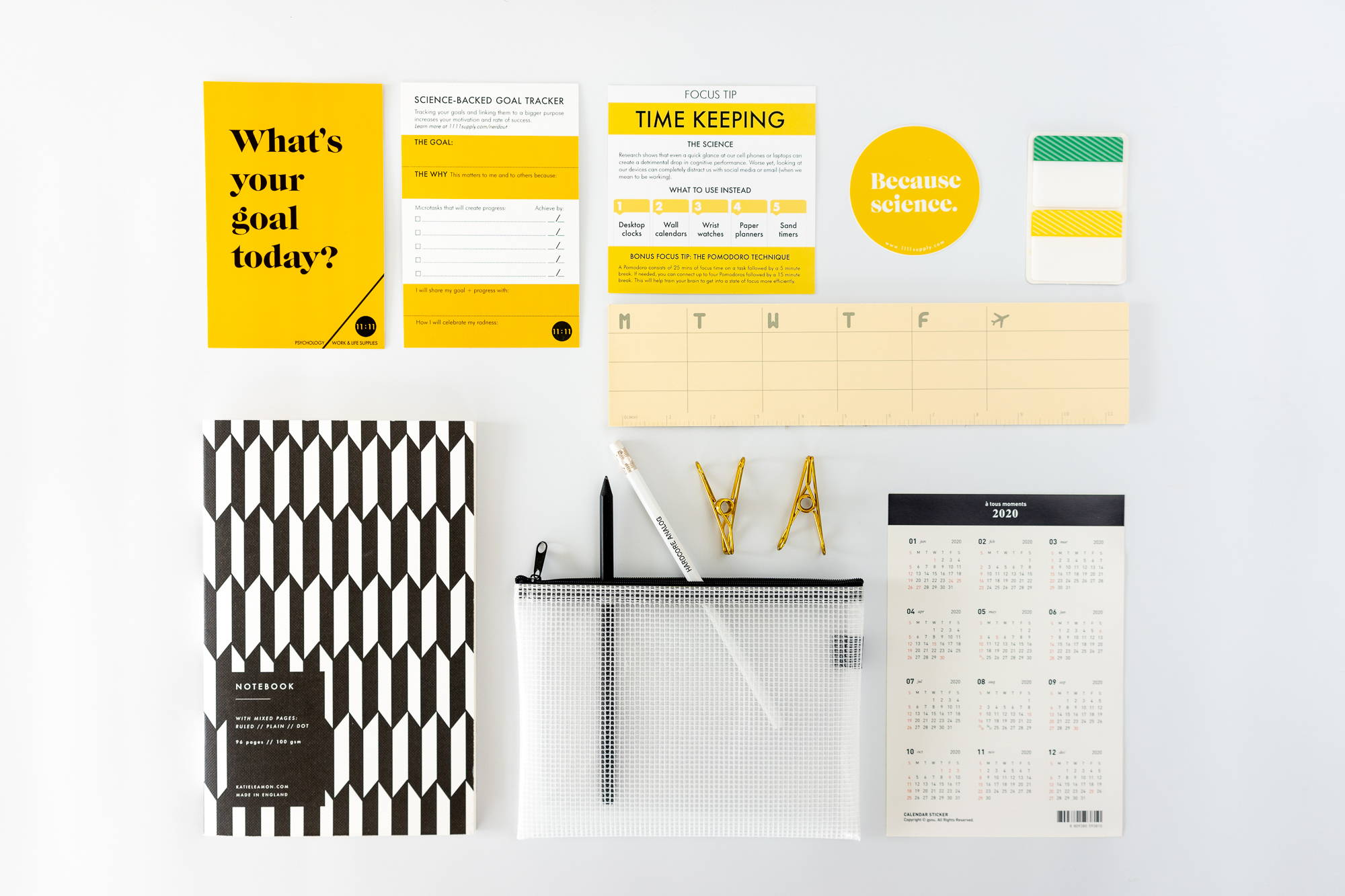 photos of office supplies in a grid