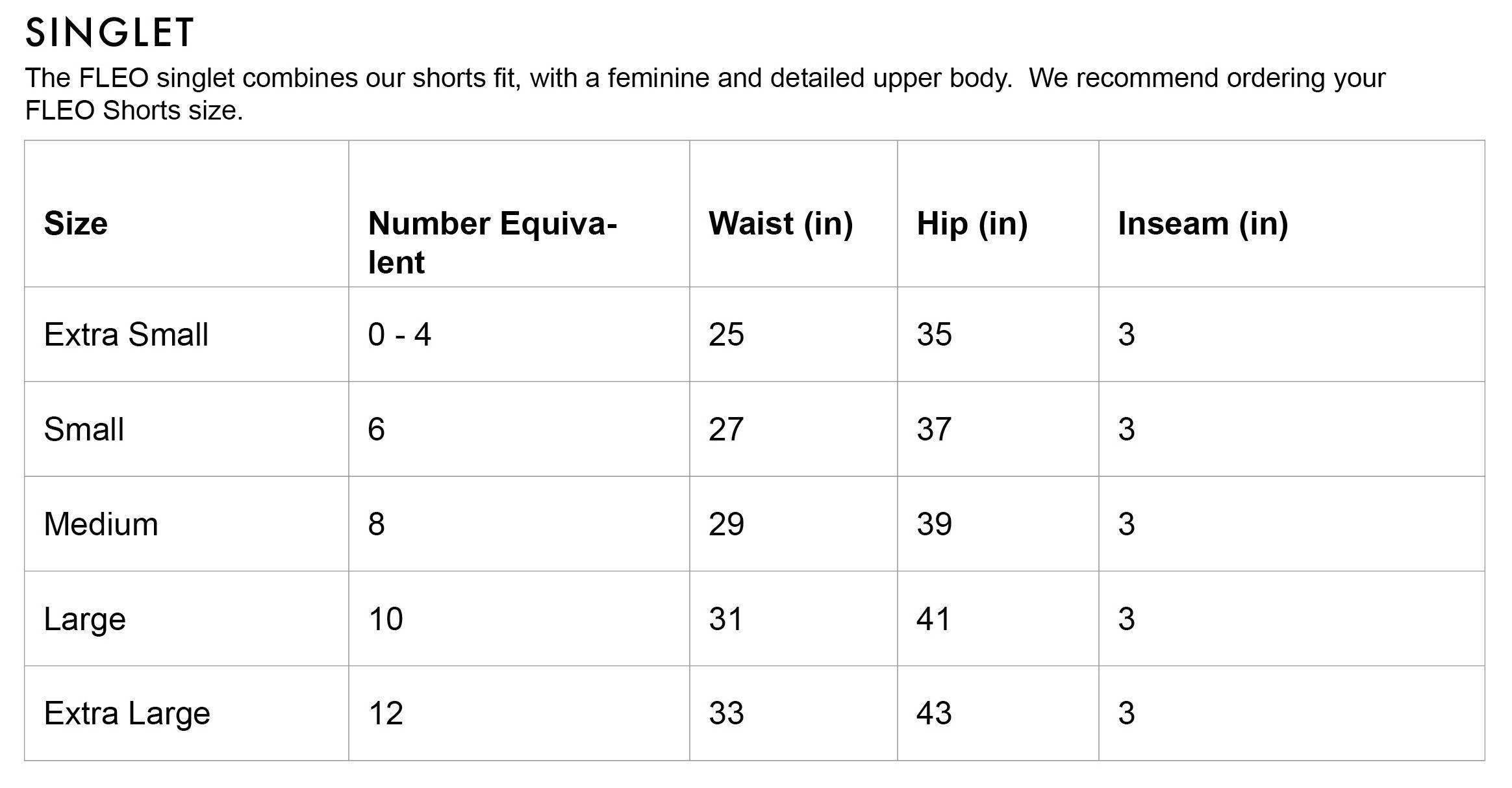 FLEO Weight Lifting Singlet Size Chart