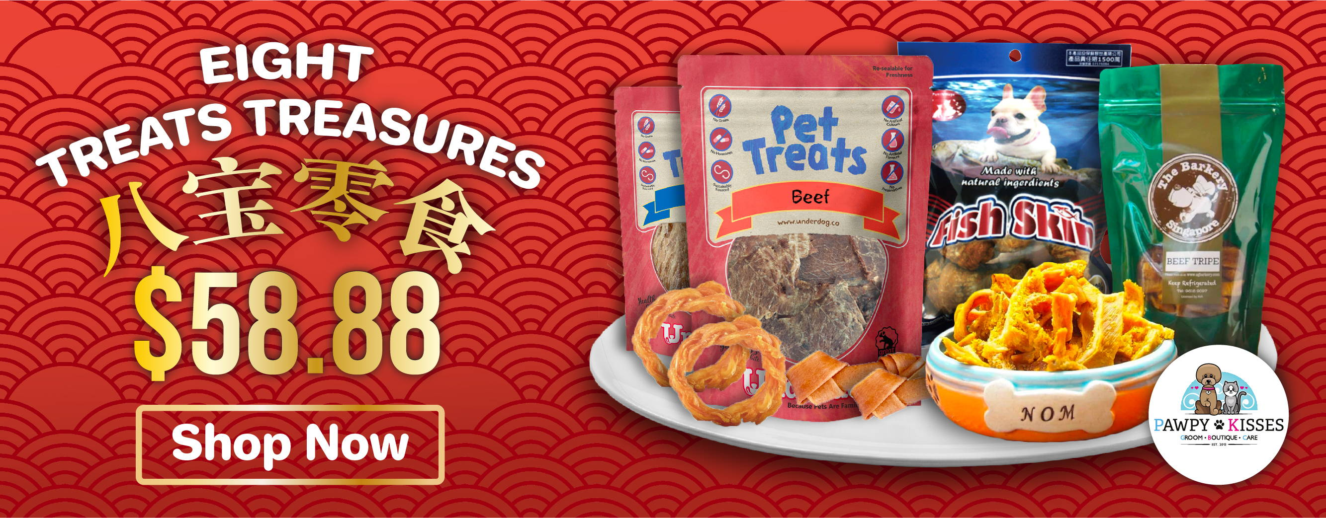 Pawpy Kisses Chinese New Year The Eight Treats Treasures Online Pet Shop Singapore Papy Kisses banner.