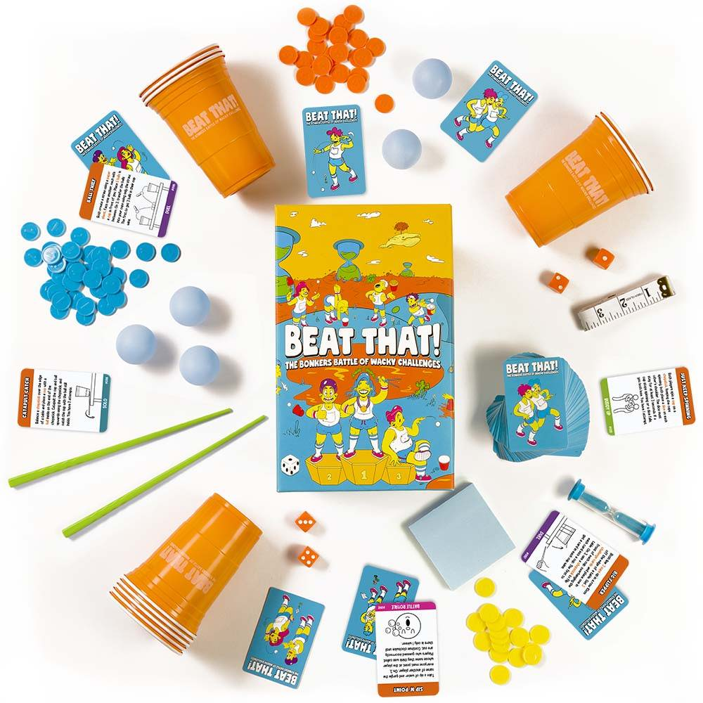 Aerial of Beat That! challenge game with all components