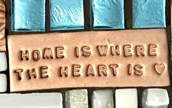 quote tile created using mini alphabet letters and polymer clay