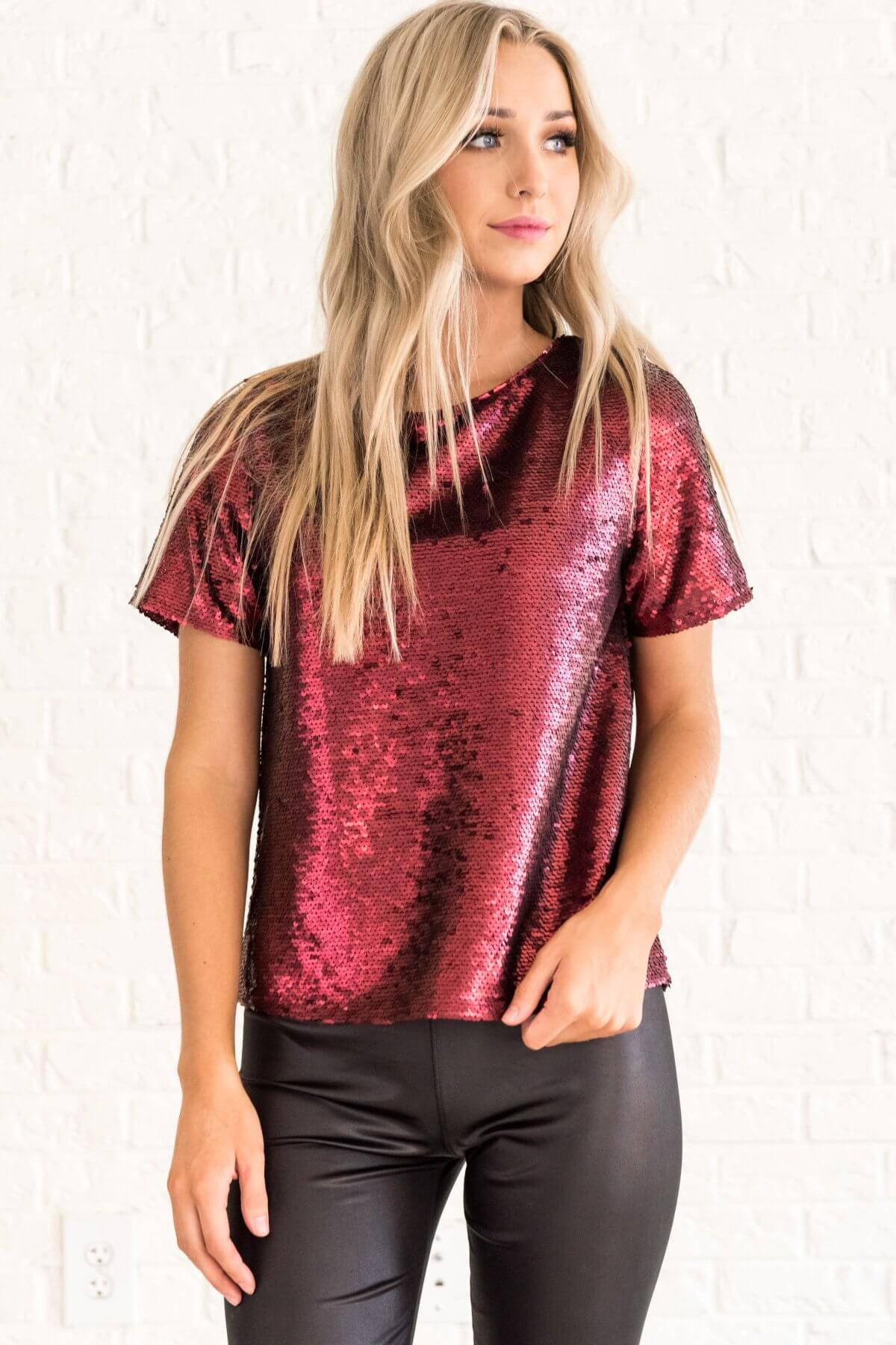 Burgundy Red Sequin Boutique Tops Affordable Online Boutique