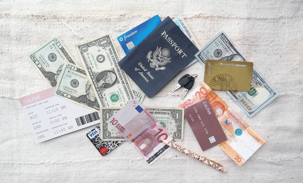 Currency, Cards, Passport, Pass to put into your Travel Wallet