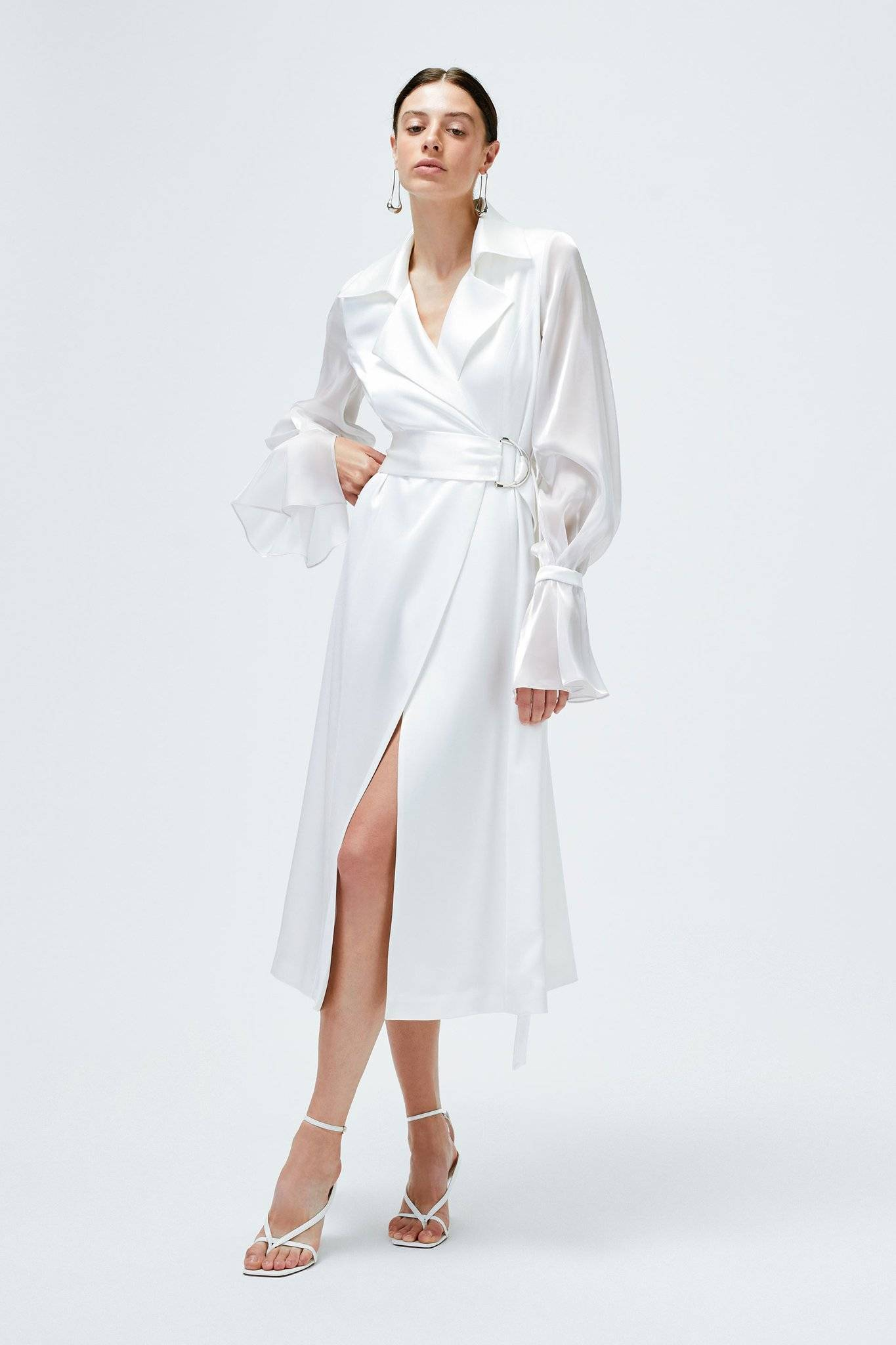 Galvan London Organza Puffy Sleeves Satin White Trench Coat
