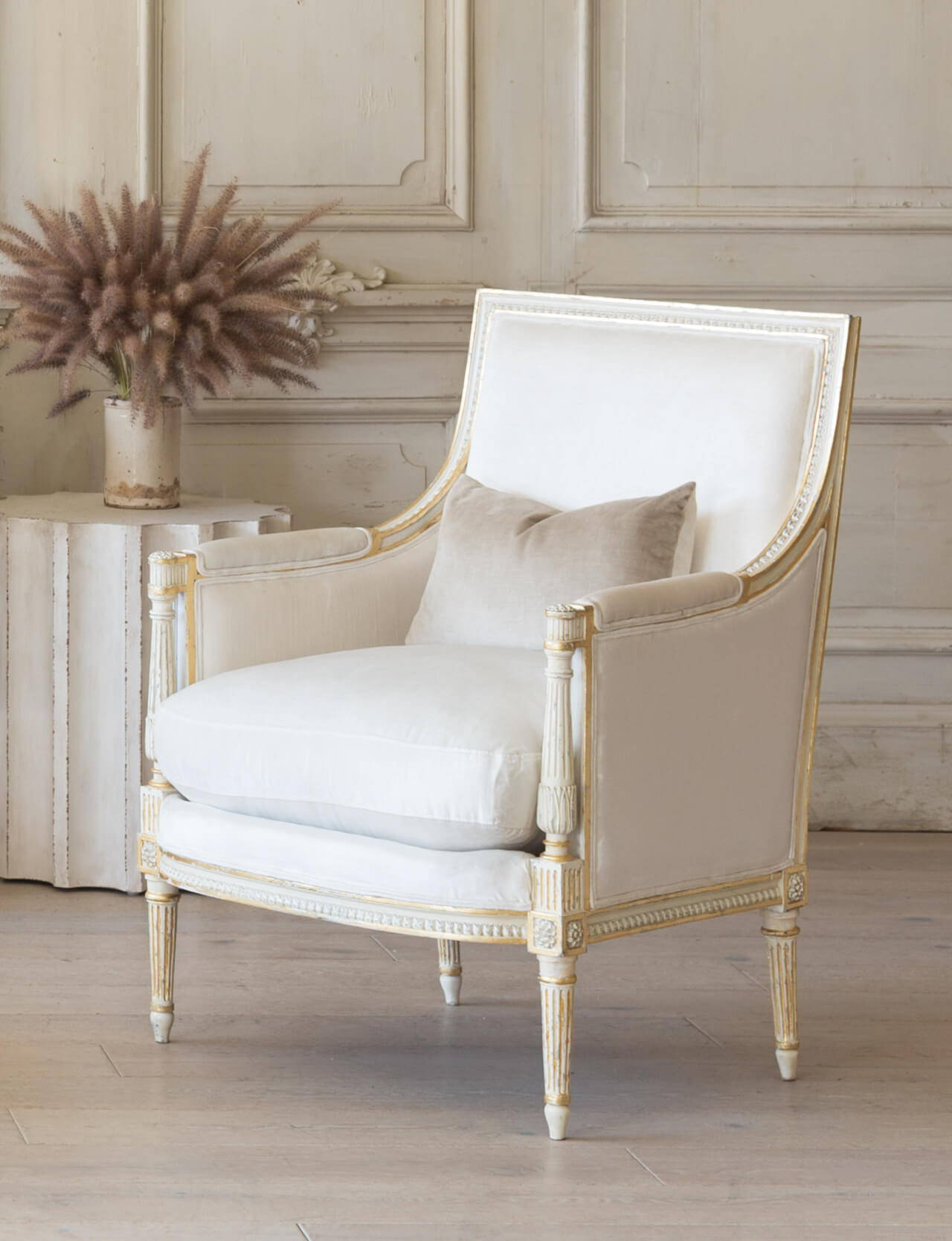 Eloquence® Minerva Bergere in Ivory Velvet and Antique White With Gold Leaf Finish