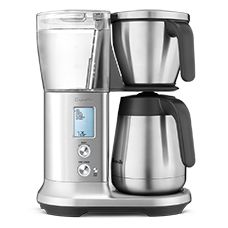 Stainless steel Breville coffee maker known as