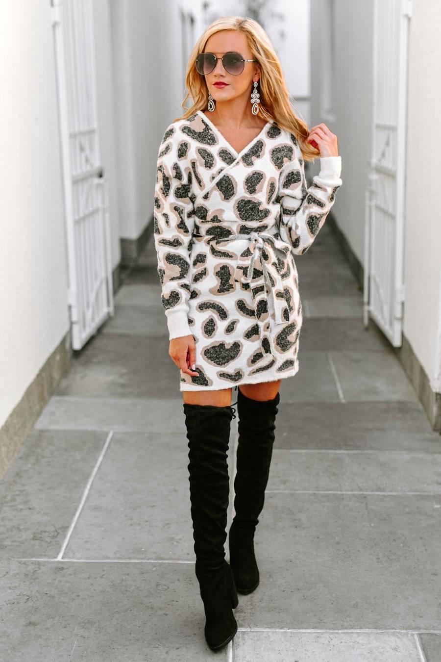 leopard print sweater dress