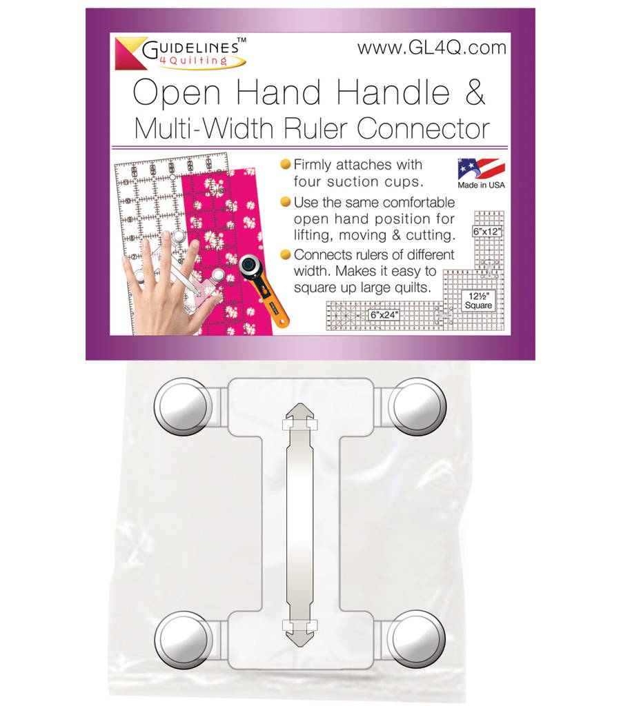 Open Hand Handle / Multi-Width Ruler Connector for quilt rulers by Guidelines4Quilting.