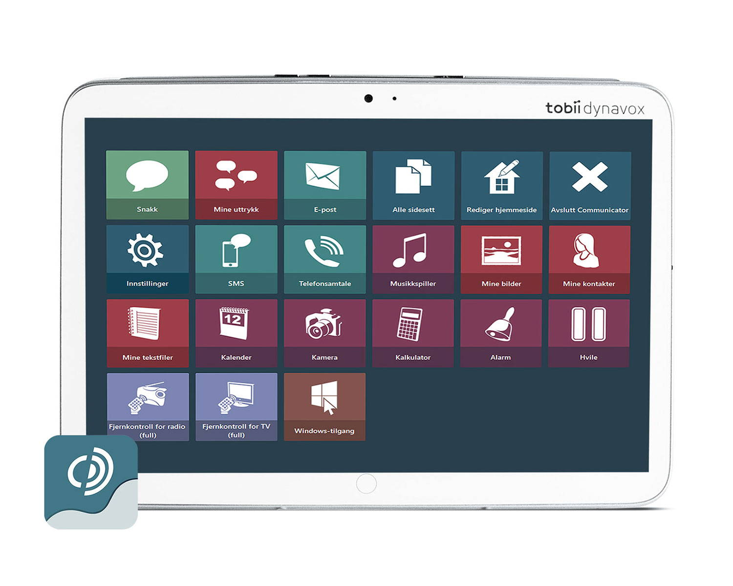 Tobii Dynavox Indi nettbrett for tale med ASK-appen Communicator 5