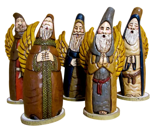 These beautiful and joyful Santa People Gourds are painted by Anne Gratton! Thank you, Anne, for sharing your artwork with us on Facebook!
